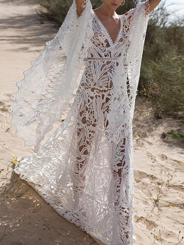 Lace Hollow Flared Sleeves Bohemia Wedding Dress