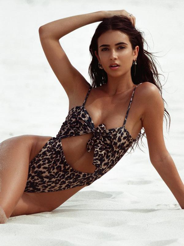 Leopard Hollow Backless One-piece Swiwear
