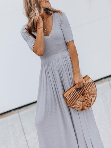 Simple Short Sleeve Wide Leg Jumpsuits