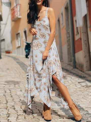 Asymmetric Spaghetti-neck Bohemia Maxi Dress