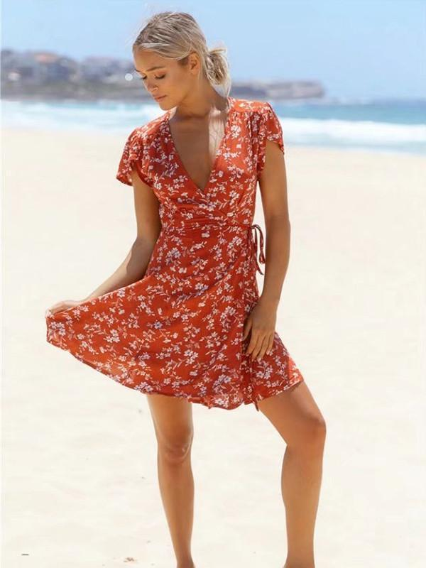 Popular Floral-Print Petal Sleeve Side Lace-Up Mini Dress