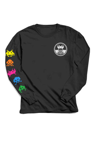 Space Invaders Black long sleeve T-shirt