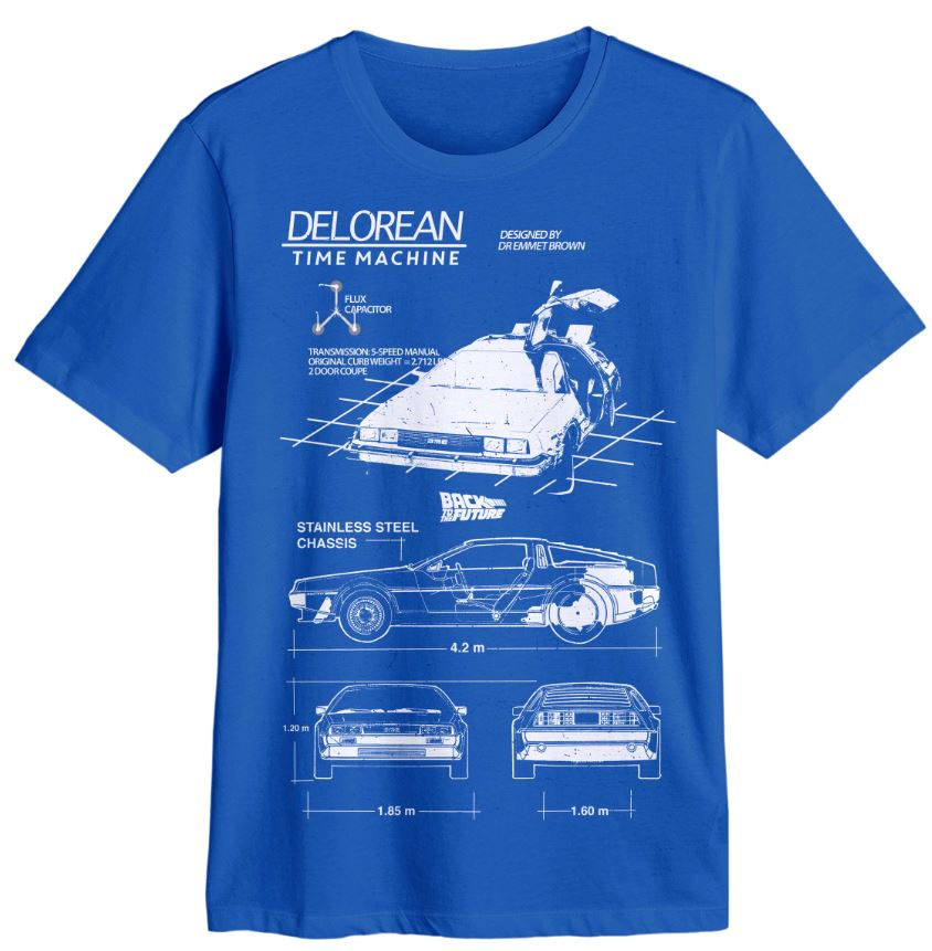 Back to the Future Delorean Blue Tee