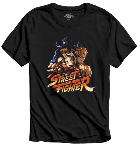 Street Fighter Logo/Characters Black T-shirt