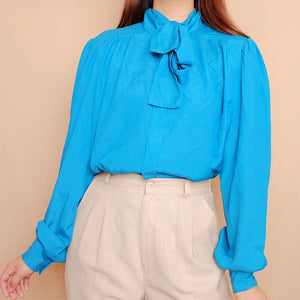 Tiffany Blue Long Sleeves Tie Neck Blouse