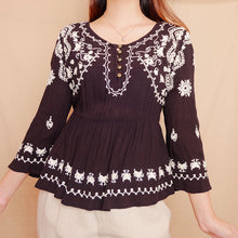 Load image into Gallery viewer, Forever 21 Emroidered Chiffon Boxy Blouse