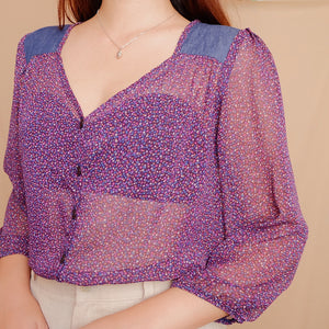 Printed Chiffon V-Neck Blouse