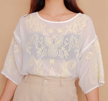 Load image into Gallery viewer, Emroidered Chiffon Boxy Blouse