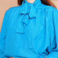 Load image into Gallery viewer, Tiffany Blue Long Sleeves Tie Neck Blouse