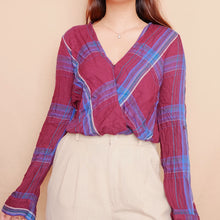 Load image into Gallery viewer, Checkered Plum Wrap Top