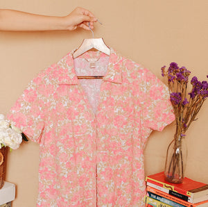 Floral V-Neck Button Down Shirt