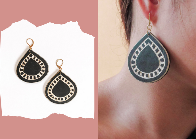Abaniko Tboli Wood Earrings
