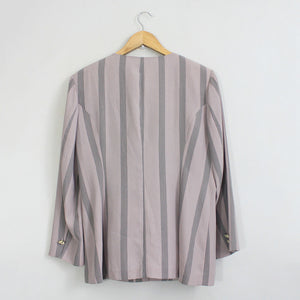 Vintage Light Purple Striped Short Sleeve Light Blazer/ Topper