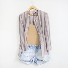 Load image into Gallery viewer, Vintage Light Purple Striped Short Sleeve Light Blazer/ Topper