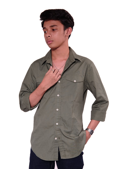 Olive green Long sleeves with pockets