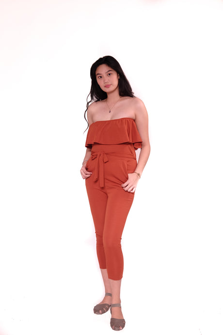 Jumpsuit: Off shoulder with ribbon