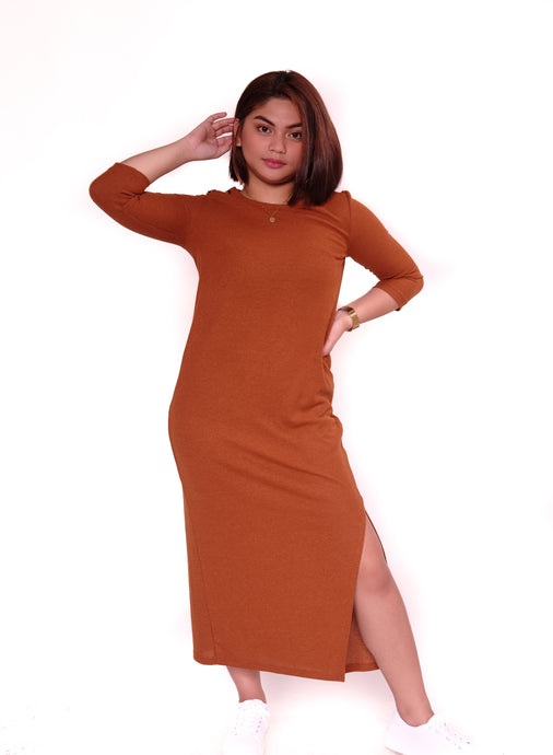 Brown Long Dress with Side Slit