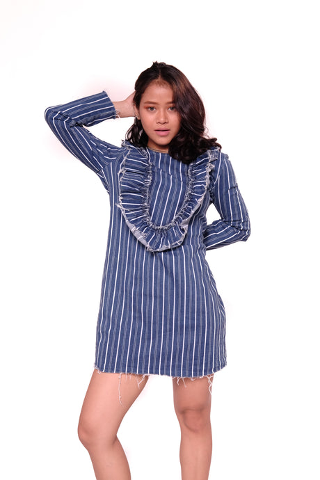 V-Neck Denim Stripes Long Sleeve Dress