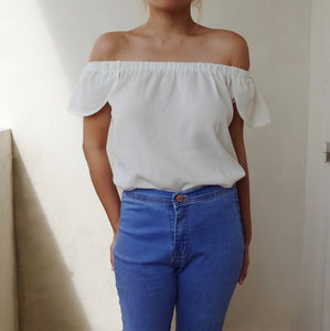 White off-shoulders top