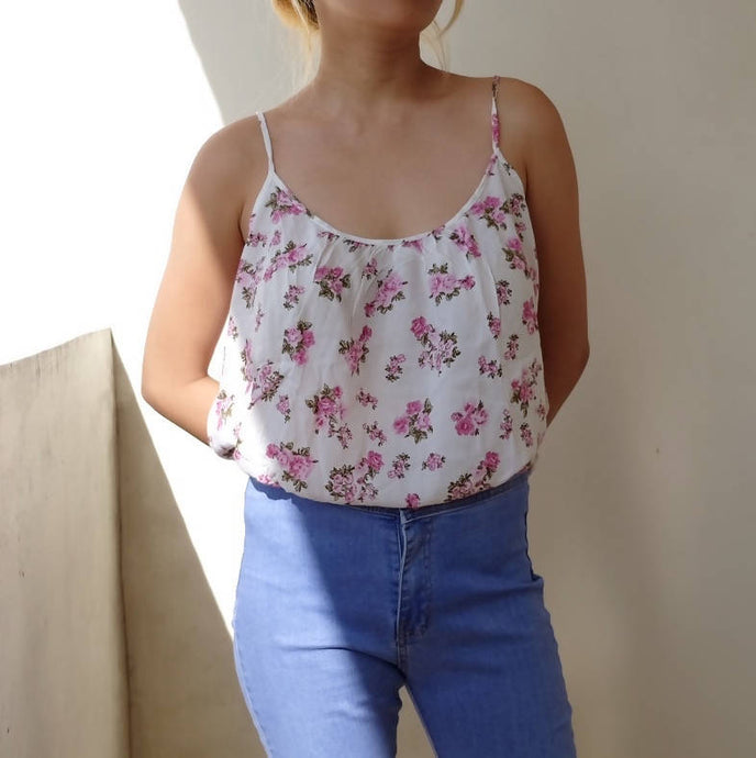 White floral strap top