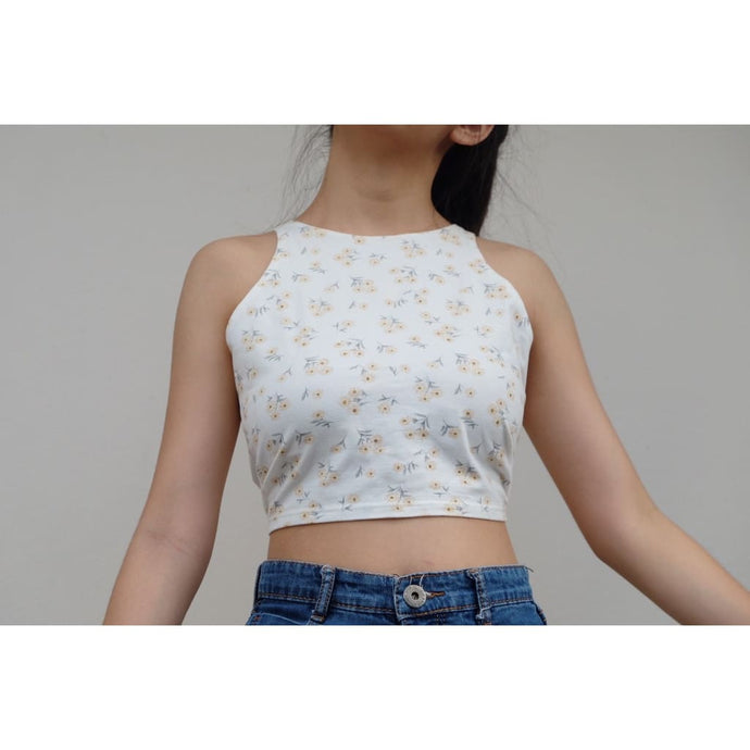 White Floral Cropped Top - Top