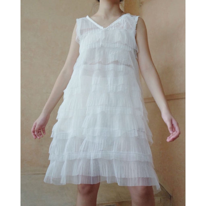 White Sheer Layered Dress - Dress