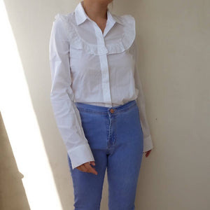 White buttondown with ruffles