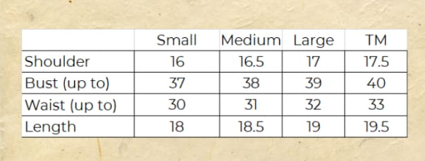 Sybil Top Size Chart