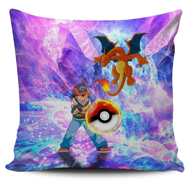 Ash & Charizard Pokemon Pillow Cover