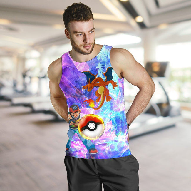 Ash & Charizard Pokemon Premium Tank Top