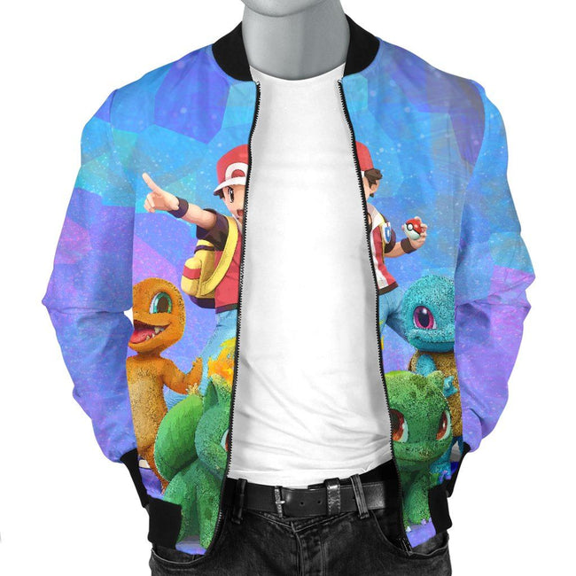 Ash in Action Pokemon Custom Bomber Jacket