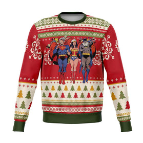 Batman Superman Wonder Woman 3D Ugly Christmas Sweater