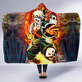 Blazing Bakugo Hooded Blanket