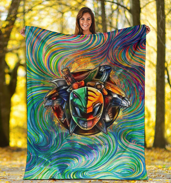 Blazing Green White Tommy Power Rangers Blanket