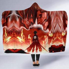 Burning Attack on Titan Hooded Blanket