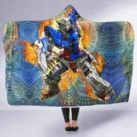 Burning Gundam Hooded Blanket