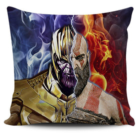 Burning Thanos & Kratos Pillow Cover