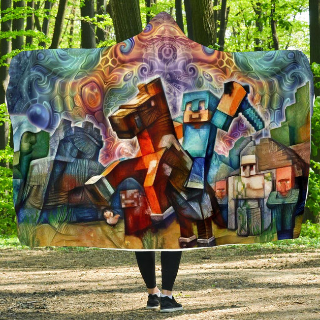 Cosmic Minecraft Hooded Blanket