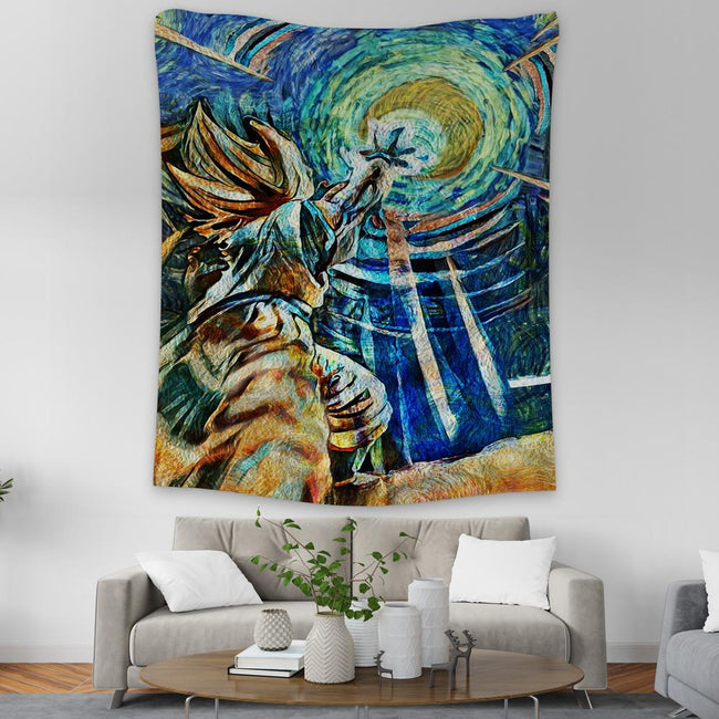DBZ Starry Night Goku Kamehameha Wall Tapestry