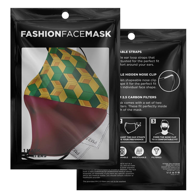 Demon Slayer Giyu Pattern V2 Premium Carbon Filter Face Mask