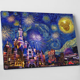 Disneyland Starry Night Canvas Wall Art