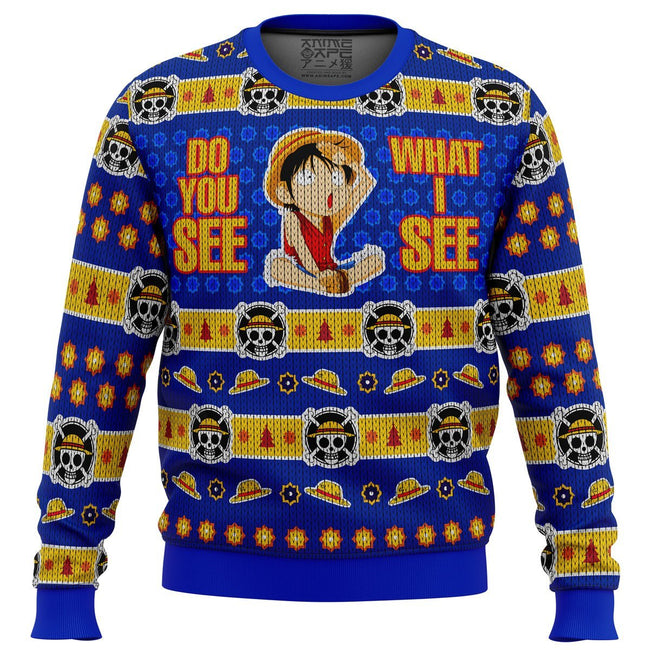 Do You See What I See Monkey D Luffy One Piece Premium Ugly Christmas Sweater