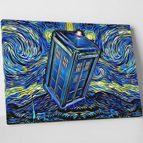 Doctor Who Starry Night Tardis Canvas Wall Art