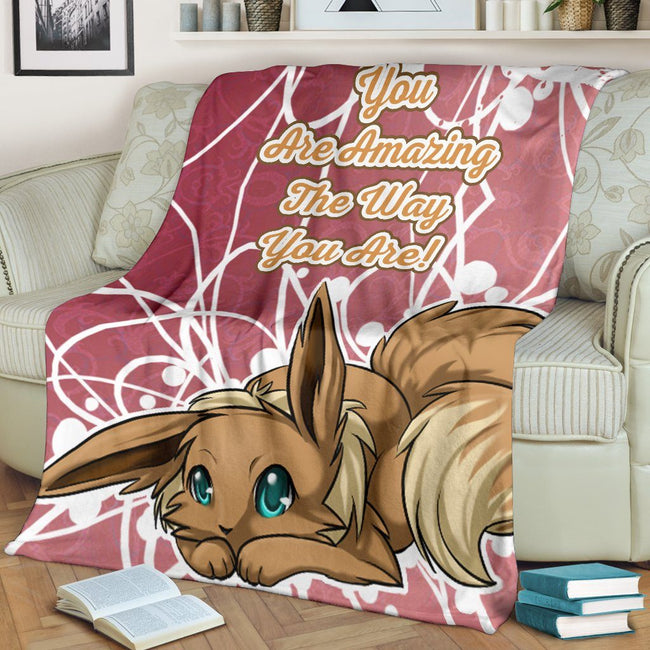 Eevee Amazing Love Quote Fleece Blanket