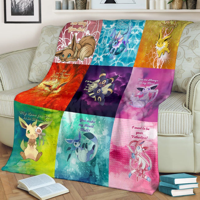 Eeveelutions Love Quotes Fleece Blanket