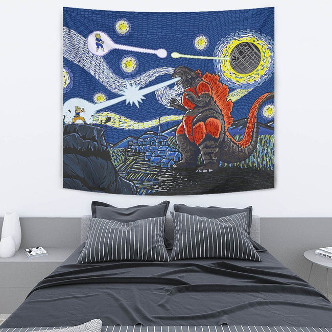 Epic Battle Dragonball Z Starry Night Wall Tapestry