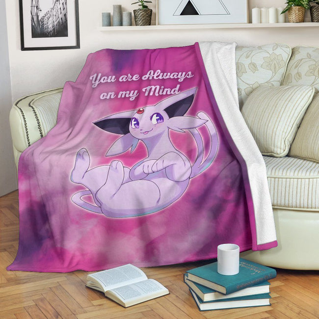 Espeon On My Mind Love Quote Fleece Blanket