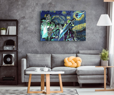 Image of Final Fantasy 7 Starry Night Midgar Canvas Wall Art