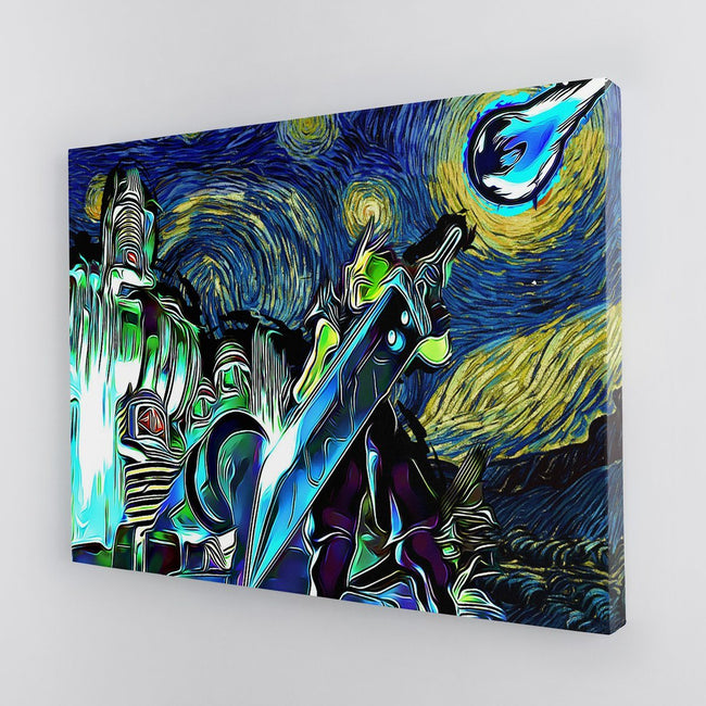 Final Fantasy 7 Starry Night Midgar Canvas Wall Art