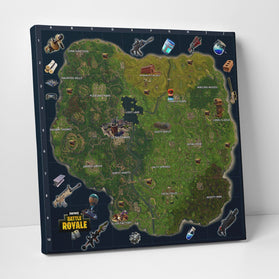 Fortnite Original Map And Weapons Canvas Wall Art